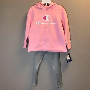 Champion Girls 2 pieces Pink Hoodie Legging Set